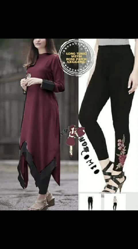 LONG TUNIC WITH BLACK LEGGING  ( COMBO)  FABRIC DETAILS OF TUNIC RAYON   FABRIC DETAILS OF LEGGINGS  4WAY STRETCHABLE COTTON LYCRA  Legging free size fit upto 30 to 38 waist   TUNIC LENGTH :-48 LEGGING LENGTH :- 36   AVAILABLE SIZE BUST TUNIC  M-38 BUST  L-40 BUST  Xl-42 BUST  Xxl-44 BUST  Price 1350/  Ready to dispatch Shipping Free..r LK 9501023209