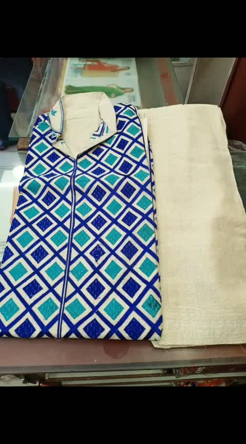 "Semi stiched phulkari kurti with readymade Patiala salwar  Price @1050/rs with shipping  No duppata included Material: khadi cotton Top length: 38"" Salwar length: 40"" RMA 9501023209"
