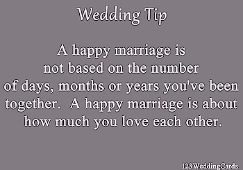 A happy marriage is not based on the number of days, months or years you've been together. A happy marriage is about how much you love each other.   #lovequote #relationshipquote #couplequotes #weddingquotes #loveeachother #loveintheair #weddinggoals #lovegoals #couplegoals #coupleslove #123WeddingCards