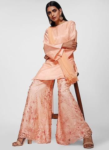 Diya Online - Peach Pristine Palazzo Suit  Shop Now - https://www.diyaonline.com/peach-pristine-palazzo-suit-ls-4006.html  #diyafashion #eidoutfit #diyaclothing #suit #saree #roposo