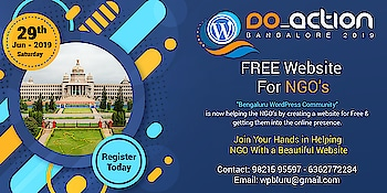 """FREE #website For NGO's Only!!!!  Attention!!! For NGO's out there -""""#Bengaluru #wordpress Community"""" is now helping the NGO's by creating a website and getting them into the online presence. Register your #ngo details today and get a FREE website!!  Hurry Up Only Limited Slots Are Available!!! https://doaction.org/event/bengaluru-2019/"""