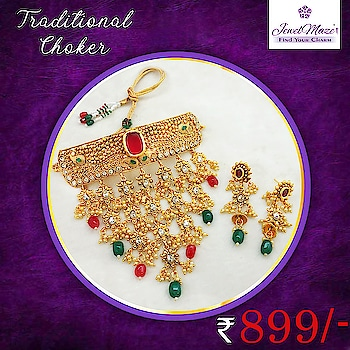 Traditional choker necklace set @ Rs. 899/- for order visit this link :  https://bit.ly/2I96bOj  Or what's app us on 9867662341  #necklace #jewelry #jewelmaze #jewelmazelover #stone #onlineshopping #traditional #finejewelry #like #trendy #jewelmaze