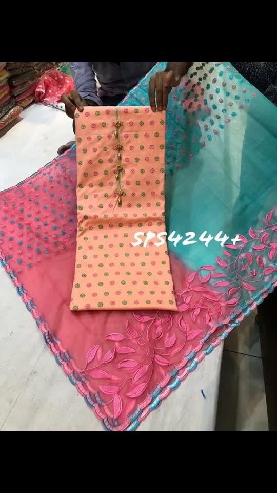 *Rate:2450/-* Ramtex cotton allover  Organza dupata Emboidery