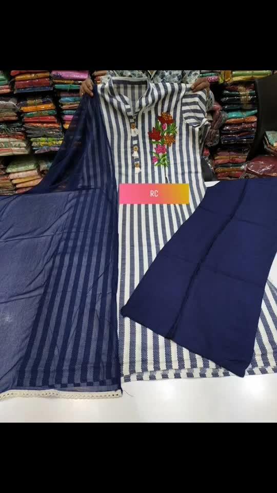 Rate:1550/-  Cotton top wid work Rayon plazzo Chiffon dupatta