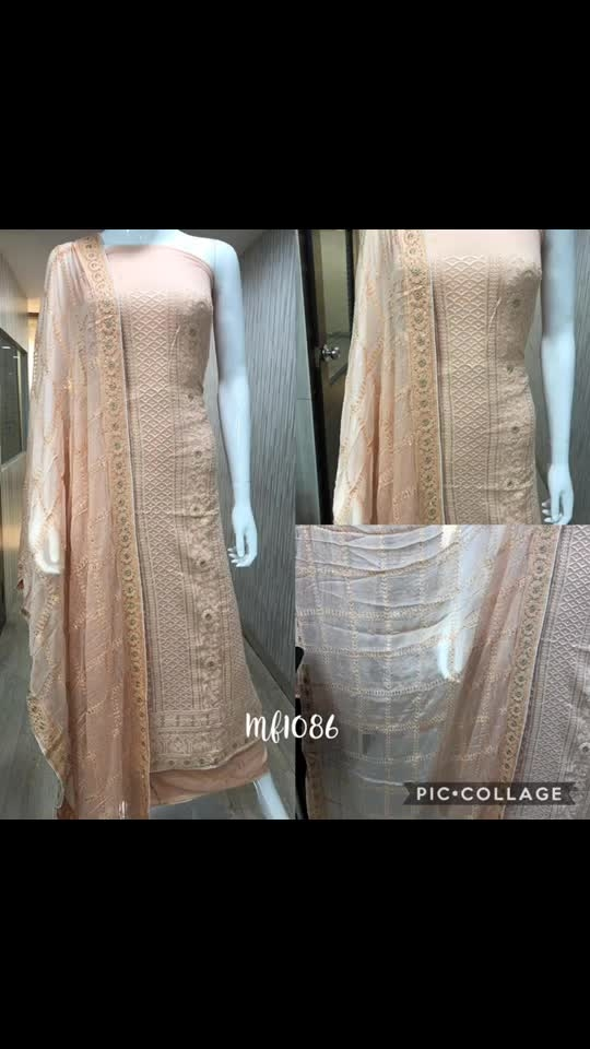 Rate:3850/-  pure georgette Lucknowi zari thread embroidered pure chiffon embroidered pure santoon bottom  Grp