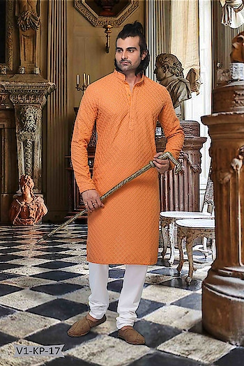 #Vivah Collection # Kurta With #OffwhiteBottom #chikankurta #Indianlook #Chikankari #withcolours #weddding #betraditional #orange #followme #forRich & #RoyalLook to Know more details whatsapp on 919820936178