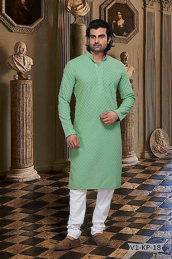 #Vivah Collection # Kurta With #OffwhiteBottom #chikankurta #Indianlook #chikankari #withcolours #Trendy #rama #pista #indianwedings #lookgoodfeelgood #betraditional #whiteloverforever #forRich & #RoyalLook to Know more details whatsapp on 919820936178
