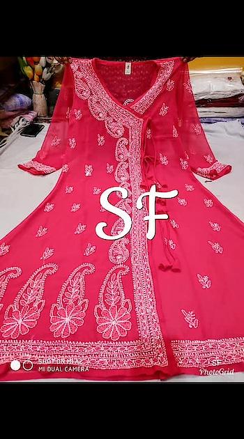 #chikankari #₹999WithFreeShipping #sfc ✅ Georgette fabric long length Angrakha style kurti ✅ Beautiful chikankari work  ✅ length 46 inches ✅Sizes 40 to 44