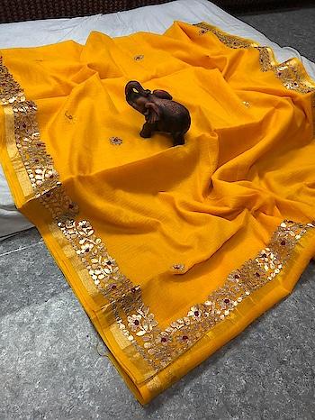 ****Cotton Kota Doriya Saree with Gota border and flower buttis**** Contact or WA : 98254 42027 with running blouse piece #thebazaar #gotapattiwork #gotasaree #kotasilk #cottonsarees