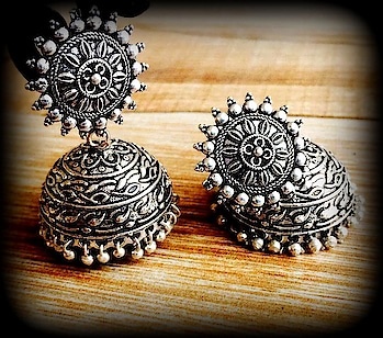 German Silver Oxidized Jhumka with Beads From Vogue Crafts And Designs.  Call at : 096432 07706 #jhumka #earrings #jhumkas #jewellery #fashion #jhumki #accessories #oxidisedjewellery #indianjewellery #jewelry #indianfashion #Earrings #wholesale #Designer #Jewellery #Manufacturer