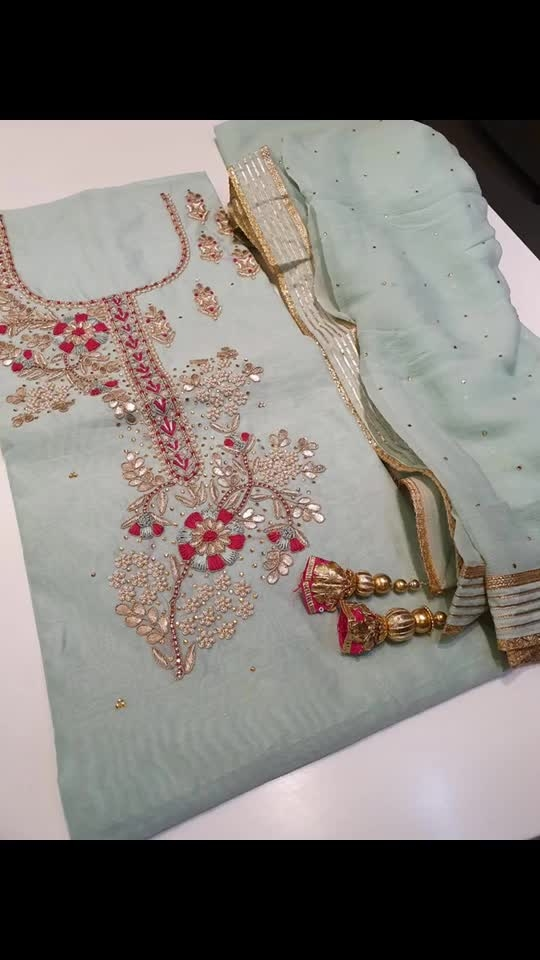 Rate:3150/-  *🍃Embroidered  Chanderi Shirt with Gota Patti and Pearl Work*  *✔Pure Chiffon Dupatta with Gota border and Gota Tassels*  *✔ Cotton Bottom*