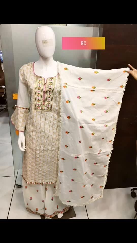 Rate:2550/-  Chikankari top wid thread work & designer sleeves  Cotton thread work dupatta  Cotton stitched plazzo