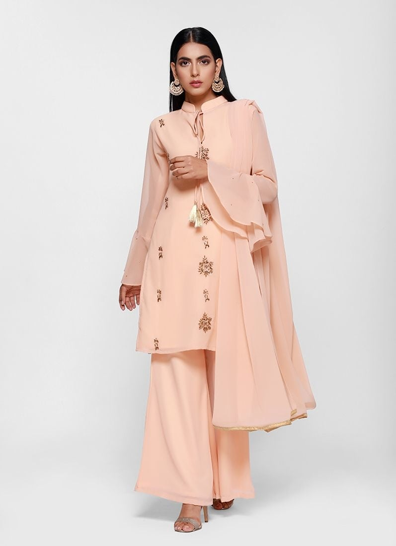 Diya Online - Peach Embroidered Frill Palazzo Set  Link - https://www.diyaonline.com/classic-embroidered-frill-palazzo-set-ls-4083.html  #plazzosets  #plazzosuits #diyaonline #diyaoutfits #embroideredsuits #roposocollection
