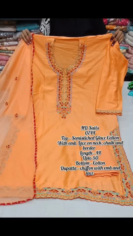 Rate:1485/-  Top - Semistiched Glace Cotton With emb. Lace on neck, chalk and border   Length - 44 Upto 50 Bottom - Cotton Dupatta - chiffon with emb and lace