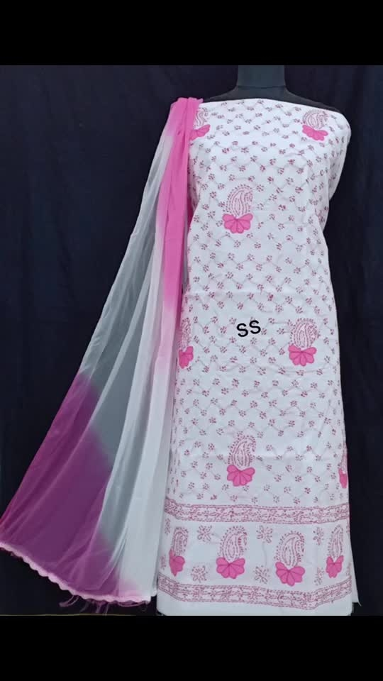 Rate:1350/-  Cotton suit piece with chiffon dupatta