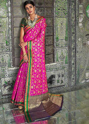 Brighten up your wardrobe with this beautiful Pink Partywear Saree.This gorgeous saree comes with Ganga Jamna silk border and Handloom Weaving Silk Blouse.