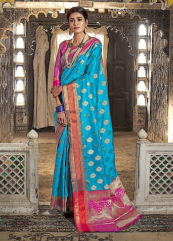 Brighten up your wardrobe with this beautiful Blue Partywear Saree.This gorgeous saree comes with Ganga Jamna silk border and Handloom Weaving Silk Blouse