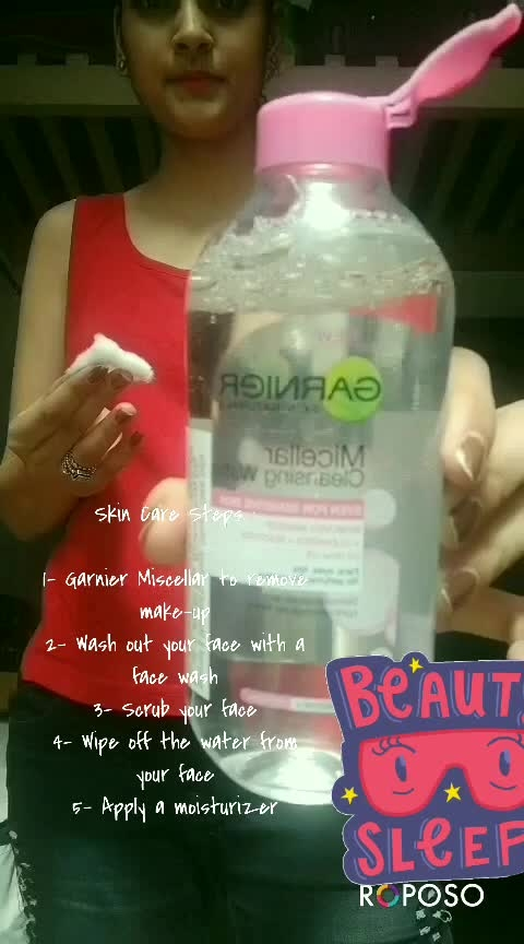Hey guys here my night skin care routine after a shoot day and a hectic day at work😍 Follow these steps and you will feel very refreshing and light after these steps😁😁 and you will have a good sleep too😚😚 #skincare #skincareroutine #skincareaddict #makeup #ropo-makeup #removemakeup #garnier #micellar #lipcolour #scrub #cleansing #skincareproducts #skincaretips #refreshing #toner #roposo-trending #trend-alert #simplenailart