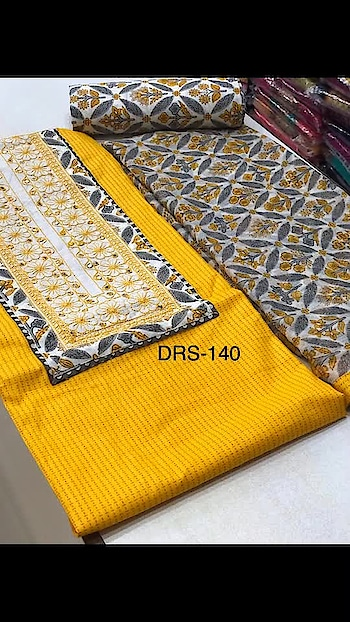 Rate:999/-  Printed cotton top with patch work  Printed cotton bottom  Printed shiffon Dupatta