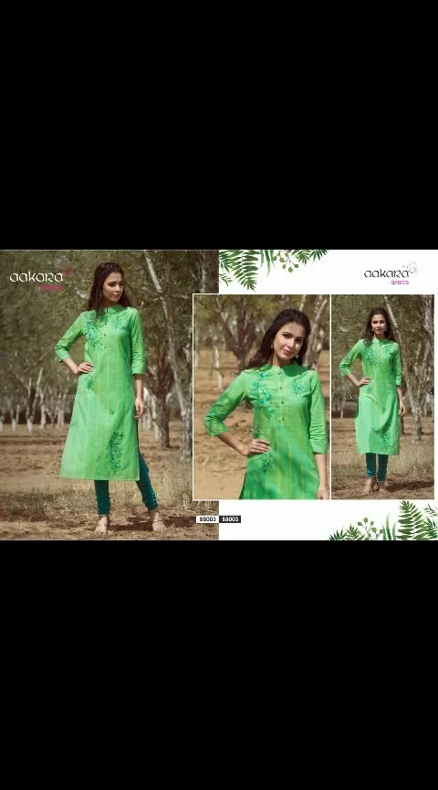"""*NEW UPCOMING STOCK IN KURTIS*  *PRE BOOKING STARTED*  ☀☀Aakara announces launch of South Handloom Cotton straight Kurti with heavy cotton thread embroidery catalog ***Aakara Basics 8***☀☀ *BEAT THE SUMMER HEAT IN STYLE*  *#Brand*- AAKARA 💃  *Type* - Straight Kurti with cotton thread embossed style heavy embroidery👗  *Fabric* - South handloom cotton (5designs)/ Rayon (1 design)  *Designs* - 6  *Size Options*- M(38""""), L(40""""), XL (42""""), XXL (44"""")  *SINGLE PIECE PRICE - 780. . +SHIP*  *PING US FOR FULL CATALOGUE PRICE*  *DISPATCH DATE - 25th JUNE 2019*"""