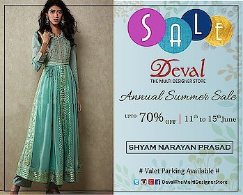 Annual Summer Sale upto 70% Off at Deval The Multi Designer Store from 11th to 15th June!!! #devalstore #annualsale #designersale #devalsale #summersale #designerwear #sale2019 #designercollection #indiandesigners #ahmedabad #discountsaleinahmedabad #womenswear