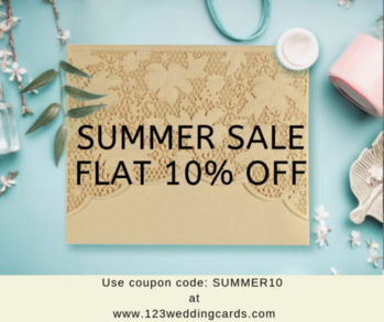 This Summer season announce your special day more louder with gorgeous, custom wedding invitations from 123WeddingCards.  Also save your pockets flat 10% using coupon code: SUMMER10. Start your shopping: https://www.123weddingcards.com/all-wedding-invitations  #summersale #summertheme #summerthemecards #weddingcards #invitationcards #onlineinvitations #marriagecards #shaadicards #paperinvitations