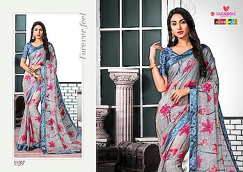 Varsiddhi mintorsi Kaseesh designer beautiful Sarees collection Brand	Varsiddhi Catalog	Kaseesh Pcs	10 AVG. Price	799 Full Price	7990 Size	Unstitched Fabric	Chiffon  For more collections visit our website :- http://hellostyle.in/  Call or whatsapp :- +91- 7434983433
