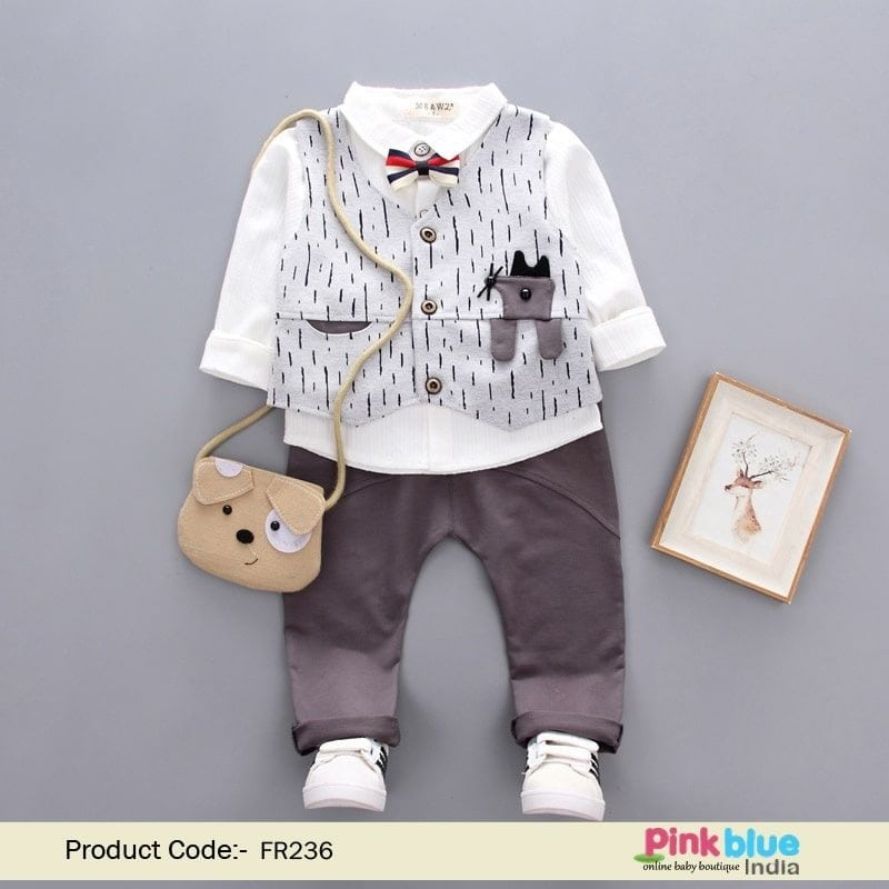 Baby Boy Casual Wear: 4 Piece Kids Party Wear Outfit Contact :+918000011699 Shop Now : https://www.pinkblueindia.com/4-piece-kids-party-clothes.html  #babyboy #boysoutfit #boysdress #babyclothing #boybirthdaydress #kids #kidswear #boysuit #waistcoat #instalikes #formalwear #kidshop #readymade #pants #shirt #bowtie #usa #uk #australia #clothing #formaloutfit #partywear #online #buy #india #pinkblueindia