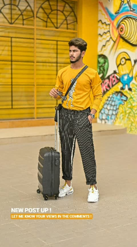 "WHEN I TWIST MY STYLE FROM STREET TO TRAVEL ! . . Breathable trouser from - @sheinofficial . White trainers from - @sheinofficial . . For extra discount on shein apply coupon code - ""VITRAGMQ1"". . . Sweatshirt from - @kollars.2018 . . Shot by - @thedaydreamstudio . . #thestyledweller  #TSDFAM  #VITRAGMQ1 #shein  #sheinindia #sheinmen #streetstyleformals  #streetstyle #yellow #black #trouser #stripes #ootd #fashionista #mensfashion  #menwithstreetstyle  #trend #fashioninfluencer  #fashionblogger  #fashion  #surat #india #suratinfluencer  #suratblogger  #indianfashioninfluencer  #indianblogger"