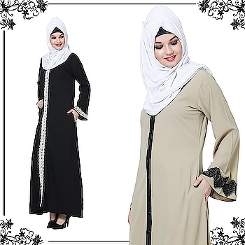 A classic range of abayas that make you look both sophisticated and fashionable are these bell sleeves dual toned lace abayas in beige and black combinations! Shop Now : https://bit.ly/2vAxHyv #abaya #hijab #traditionalclothing #outfits #muslimahchamber #frontopenabaya #muslimwomen #muslimgirl #hijabista #islamicwear #hijabfashion #hijabonline #hijabstyle #hijabootd #abayaindia #abayadress #abayamoden #abayalover #abayashop #abayafashion #embroideredabaya #blackabaya #blackhijab #hijabista #hijaboutfit #hijabmuslim #hijabi #islamicwear #islamicfashion #muslimahwear