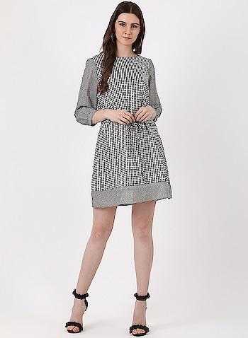 Monte Carlo - Round Neck Printed Dress  Shop Now - https://www.montecarlo.in/product/monte-carlo-black-printed-round-neck-dress/11598  #montecarlo #roposo #womenfashion #dresses #top #tunics #denim
