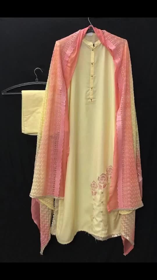 """Rate:2650/-  STYLISH BOUTIQUE COLLECTION """" SEMI STITCHED 3 piece suit set *KURTA* : Beautiful high quality Muslin with hand embroidery at the bottom  Length: 47""""inches  Chest measure : 46""""inches *DUPATTA* : Beautiful pure Chiffon CHIKEN  WOrk shaded  full 2.5 meter plus *BOTTOM* : Cotton unstitched Gpr"""