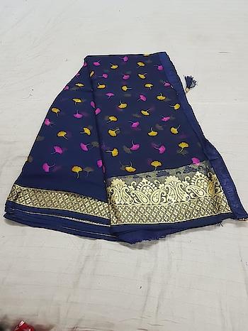 ****Floral Printed Chiffon Saree with Zari weaving border with silk blouse piece**** Contact or WA : 98254 42027 #thebazaar #chiffonsaree #wedding #ethnicsarees #traditionalsaree