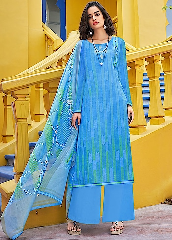 There is nothing better than having summer colors in your wardrobe, launched in our new Roma Yumna. A gorgeous blue casual wear straight cut style suit comes with Emroidered Digitally Printed Poly Silk Top, Dyed Nylon Staple Bottom and Embroidered Digitally Printed Dupatta.