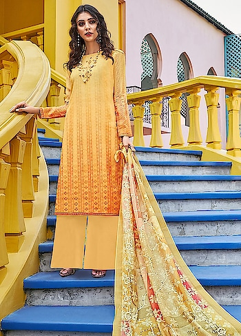 There is nothing better than having summer colors in your wardrobe, launched in our new Roma Yumna. A beautiful yellow casual wear straight cut style suit comes with Emroidered Digitally Printed Poly Silk Top, Dyed Nylon Staple Bottom and Embroidered Digitally Printed Dupatta.