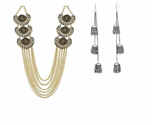 DJ India Designer Oxidized Golden Afgani Fashion Necklace for Women with Free jhumki  Occasion: Wedding & Engagement, Workwear, Love, Party Necklace with jhumki Ideal For: Women, Girls Ideal gift: Perfect gift for yourself or your loved ones Color: Multi https://amzn.to/31GMAhw