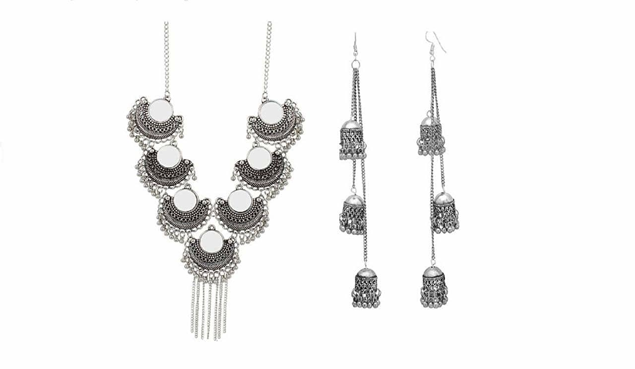 DJ India Beads Silver Plated Metal, Alloy, Glass Necklace for Women with Free jhumki  Occasion: Wedding & Engagement, Workwear, Love, Party Clasp Type: Lobster Claw Ideal For: Women, Girls Ideal gift: Perfect gift for yourself or your loved ones Color: Silver  https://amzn.to/2IYP1Do