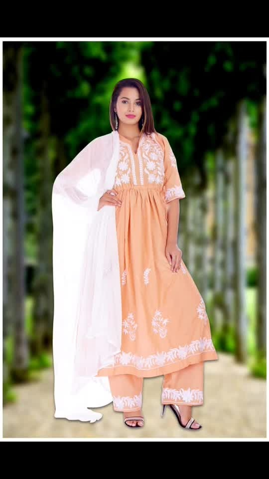 Rate:1650/-  New Launch Party wear gown with plazo & dupatta (3 peace dress)*  *Discription:-Front & back side full embroidery With tussels on back and embroidery on sleeves*  *Gown:-full embroidery back & front with 4 meter flair,front & back  side tussels dori*  *Dupatta- chiffon nazmeen 2.25 miter with embroidery& lace*  *Fabric:- Pure Cotton (Taj group 100% good quality)*  *Size:- 38/40/42/44
