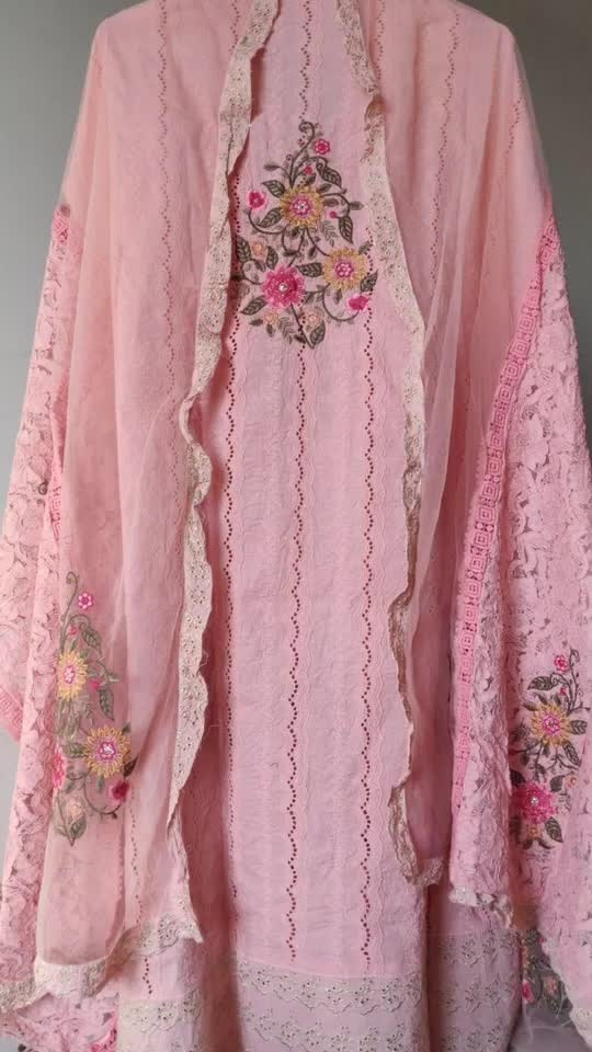 Rate:4250/-  Beautiful chikan embroidered shirts with embroidered gheras Embroidery on the back Net and crochet embroidered dupatta Frilled laces on the dupatta 🌸🌸🌸
