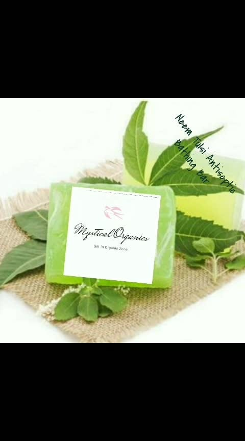Neem Tulsi Homemade Soap  Benefits of Tulsi :   Tulsi or Holy Basil helps in tightening pores, fight acne and blackheads, prevents inflammation, soothes itchiness, lightens scars and marks and heals wounds, cuts & burns.  Benefits of Neem :  Neem moisturises the skin keeping it soft and supple. It is effective for lightening scars and pigmentation caused by acne and scabies.  Neem leaves are known to contain nimbin, nimbinen, nimbolide, nimandial, ninbinene and other beneficial compounds that have anti-fungal, anti-bacterial and anti-inflammatory agents. Gedunin and nimbidol found in the leaves of neem are powerful antifungal agents that destroy fungi which cause athlete foot, ringworm and nail fungus.  Available - 70gms Price 49Rs,   100gms -95Rs/- Shipping Extra worldwide shipping available  No Chemical, Artifical Frangrance Added!!  Directions for use :  Apply soap on wet body to create a lather. Rinse lather off with water and leave soap on a soap dish to dry to make it last longer.  For placing your order inbox   NO COD DELIVERY UPON PAYMENT CONFIRMATION 3-5 WORKING DAYS PAYMENT MODE- ONLINE BANK TRANSFER, BHIM,. WORLDWIDE SHIPPING AVAILABLE AS  PER WEIGHT   Like our page for daily updates   https://chat.whatsapp.com/KeEsEe9up3h9u97nai5NbV  http://m.me/mysticalorganics  https://www.facebook.com/mysticalorganics/
