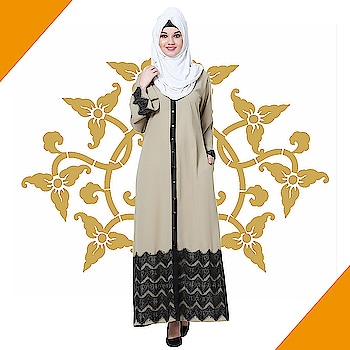 Look eloquent and sophisticated as you adorn this gown style beige abaya with bell sleeves, buttoned front and wide black lace detailing on the hemline! Shop Now : https://bit.ly/2vAxHyv #abaya #hijab #traditionalclothing #outfits #muslimahchamber #frontopenabaya #muslimwomen #muslimgirl #hijabista #islamicwear #hijabfashion #hijabonline #hijabstyle #hijabootd #abayaindia #abayadress #abayamoden #abayalover #abayashop #abayafashion #embroideredabaya #blackabaya #blackhijab #hijabista #hijaboutfit #hijabmuslim #hijabi #islamicwear #islamicfashion #muslimahwear
