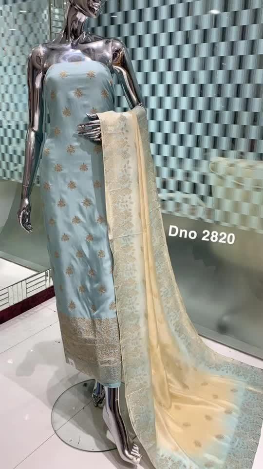 Rate:3545/-  D.no: 2820  Fabric: Upada Specification : Zari work on shirt Bottom/Duptta: Jaquard dupatta