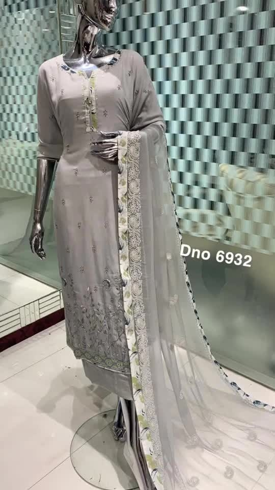 Rate:2950/-  D.no: 6932 Fabric: Muslin Specification: Embroidery and print highlight Dupptta: 4 side print with embroidery Bottom: Cotton Satin