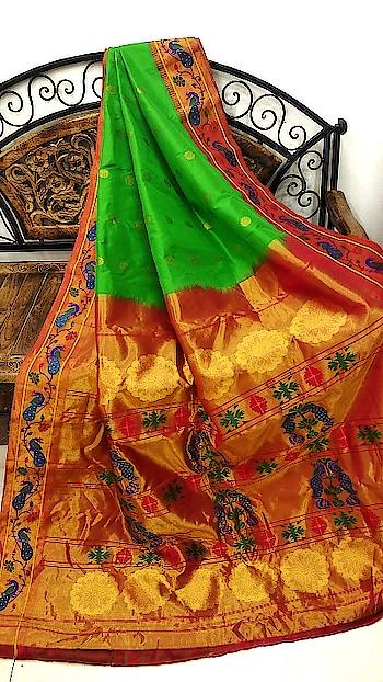 Parrot green paithani with peacock border. Shop now at www.onlypaithani.com #weddingsarees #weddingcollection #handloomsarees #paithani #silksaree