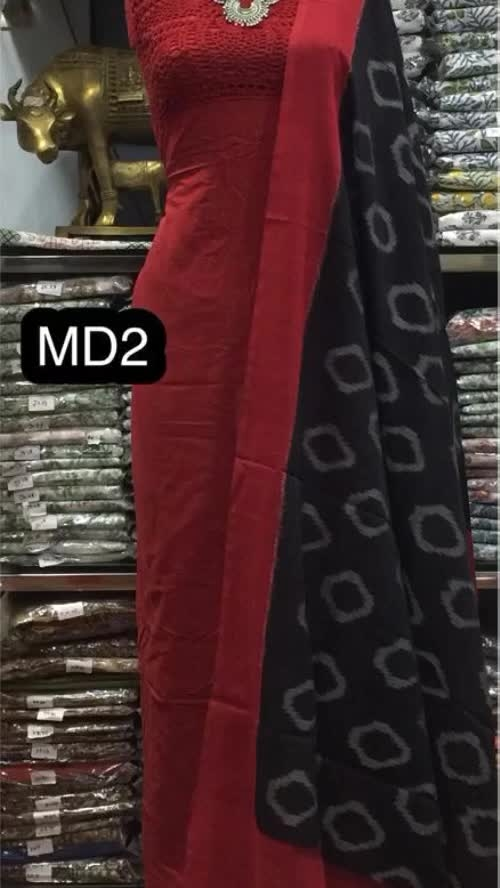 Rate:1950/-  Mercerised Ikkat Handloom cotton 120 count Dupatta Teamed up with Crochet work Done Top* *Both 2.5 Meters with out Bottom