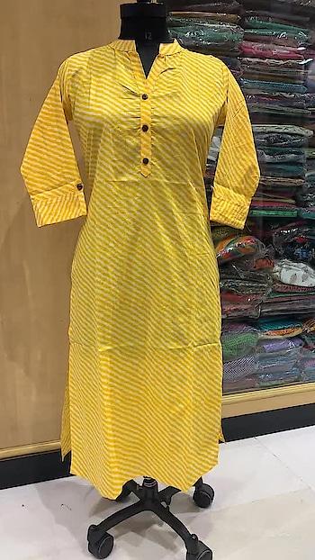 Rate:785/- Long cotton kurta in leheriya  lenght 45 sizes 38 to 46