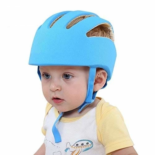 Ashni Baby Safety Helmet with Corner Guard & Proper Ventilation (Blue)  Main Function : It can avoid or Mitigate Damage to Baby's Head Upon Collision With Corners Or Hit Ground While Crawling, Walking , Playing. No Bumps Or Serious Damage To Your Lovely Infant As Baby Safety Helmet Protect His Head. It Keep Care Your Kids. Size: Adjustable With head circumference of 43cm to 56cm. Applicable Age: Eight to Sixty Months.  https://amzn.to/2MK6qoE