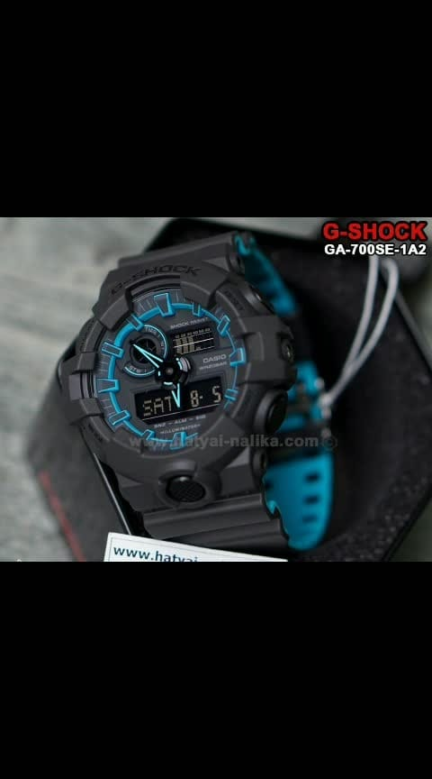 😎😎 *ORIGINAL QUALITY.. G SHOCK.. GA 700 SE.. NOW IN STOCK* 😎😎  # Casio # G-Shock # *GA 700 SE* # *Limited Edition* # *BLUE NEON* # Unisex # CASE SIZE: 55 mm x 51.2 mm # Original Model # *DUAL COLOR STRAP*  # Features - > *Original Japan Quartz Movement* > *Shock Resistant* > Mineral Glass > Resin Band  > 200-meter water resistance > *LED light (Super illuminator)* > *World time* - 31 time zones (48 cities + coordinated universal time) > Daylight saving on/off,  > *1/100-second stopwatch* > *Others* - target time alarm, direct timing start from the timekeeping mode > *Countdown timer* - Measuring unit: 1/10 second, Countdown range: 60 minutes > *5 daily alarms* (with 1 snooze alarm) > Hourly time signal > *Hand shift feature*  > *Full auto-calendar* (to year 2099) > Button operation tone on/off  🌟 *NEW PRICE* 🌟  ✅ *Only 1950 including Shipping and Original Casio G Shock Box* ✅