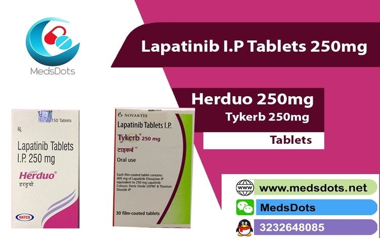 Buy Indian Lapatinib 250 Tablets with MedsDots whoes aim is caring for your health and available services worldwide like China,USA,Jordan,Hong Kong, Saudi Arabia, UK,Russia, Vietnam, Philippines,Fiji, Laos, Kenya, Lebanon, Libya, Luxembourg, Peru, Uruguay, Pakistan, Malaysia,Romania, Hungary etc. Get Generic Tykerb, supply Natco Herduo 250mg tablets is used to treat various types of breast cancer (HER2-positive) from the true indian pharmacy in nominal price.MedsDots give benefits nonstop (24x7) through our site to worldwide clients.If you need to order Lapatinib Tablets -Tykerb 250mg and Herduo 250mg Tablets, you can contact us anytime 24*7. For any query feel free to contact us anytime call us at -> +91-9953810074, QQ: 3232648085, Skype: medsdots, WeChat: medsdots, or mail: medsdotss@gmail.com.