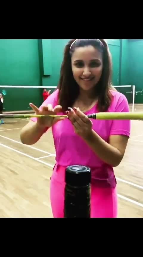 #bottlecapchallenge by #tennis #bat #parineeti #chopra